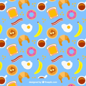 Breakfast pattern in flat desing
