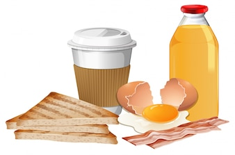 Breakfast set with break and juice illustration