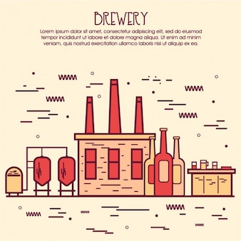 Brewery background in flat design