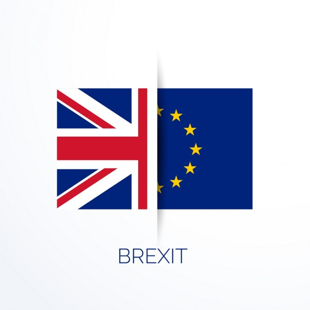 Brexit referendum with uk and eu flags