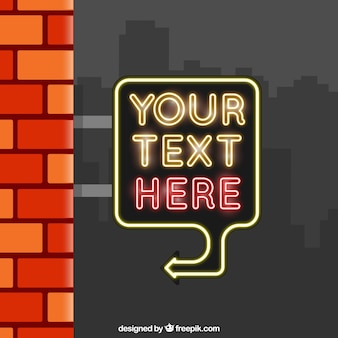 Brick wall background and neon lights sign