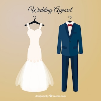 Brid dress and wedding suit with hangers