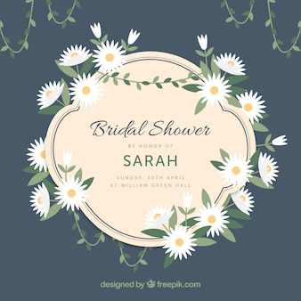 Bridal shower frame with fantastic daisies