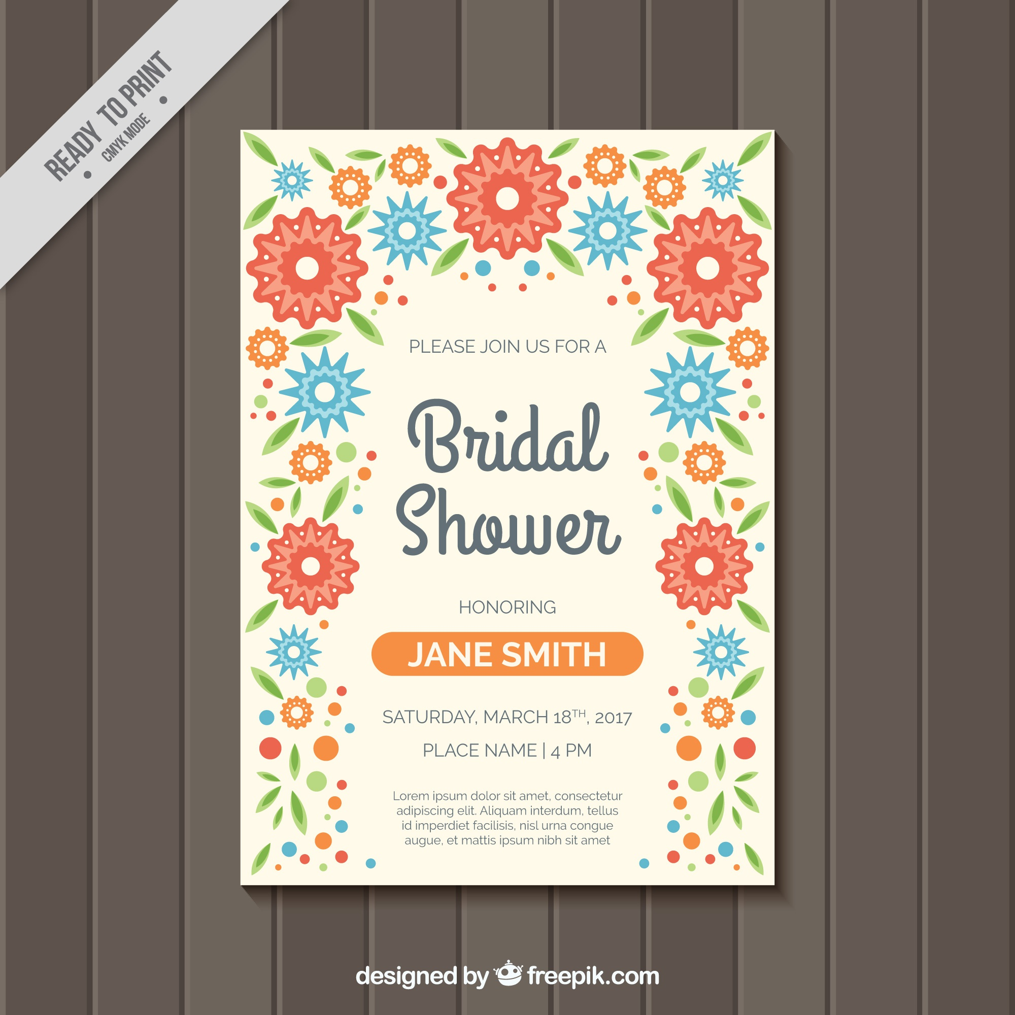 Bridal shower invitation with colored flowers in flat design