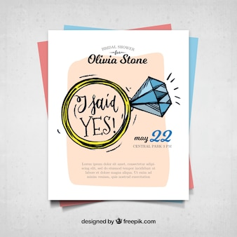 Bridal shower invitation with decorative ring