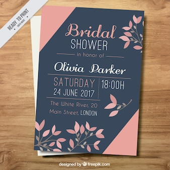 Bridal shower invitation with floral decoration