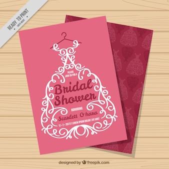 Bridal shower invitation with ornamental wedding dress
