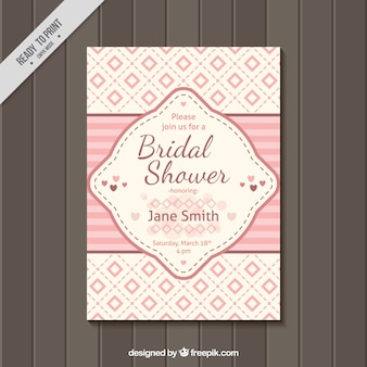 Bridal shower invitation with pink squares