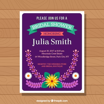 Bridal shower invitation with pretty flowers in flat design
