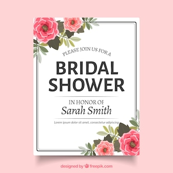 Bridal shower invitation with realistic flowers