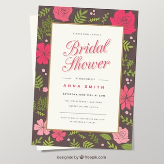 Bridal shower invitation with red and pink flowers
