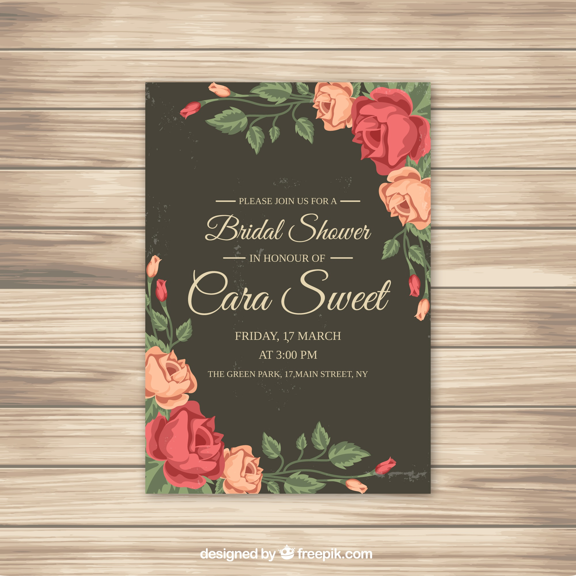 Bridal shower invitation with roses