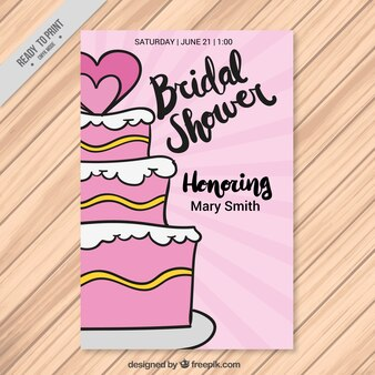 Bridal shower invitation with wedding cake