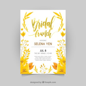Bridal shower invitation with yellow plants