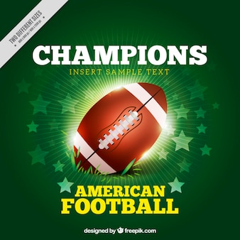 Bright american football ball background with stars