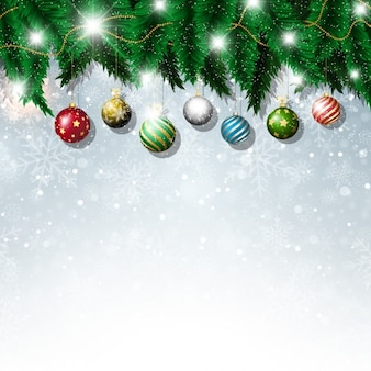 Bright background with christmas balls