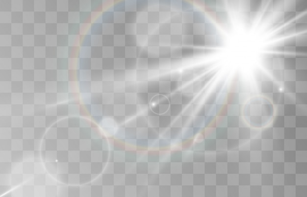 Bright beautiful star.   a light effect on a transparent background.