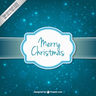 Bright blue background with christmas label