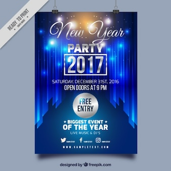 Bright blue new year 2017 poster