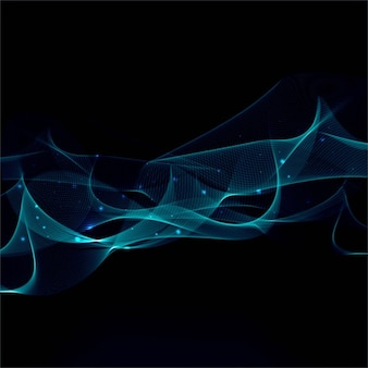 Bright blue wavy lines on a black background