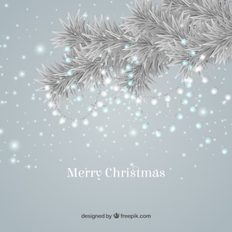 Bright christmas background with a tree branch