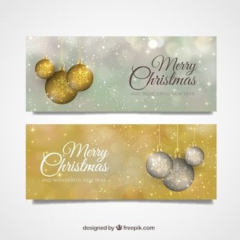 Bright christmas banners with decorative balls