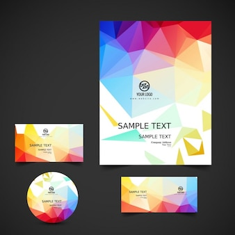 Bright colorful polygonal business stationery