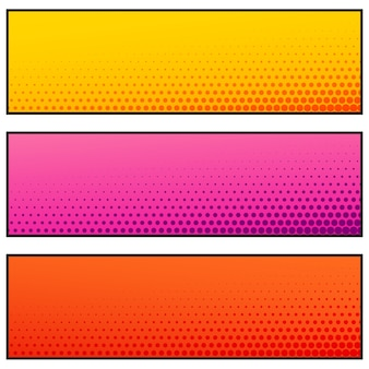 Bright empty banners with halftone effect