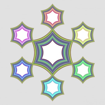 Bright frames with colored stars