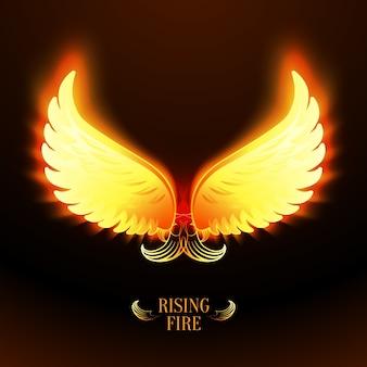 明るい輝く炎の天使の翼のベクトル図