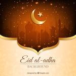 Bright golden background of eid al-adha