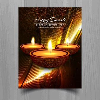 Bright golden card with diwali candles