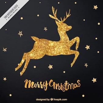 Bright golden reindeer stars background