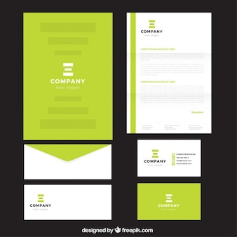 Bright green company stationery