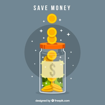 Bright jar background with money