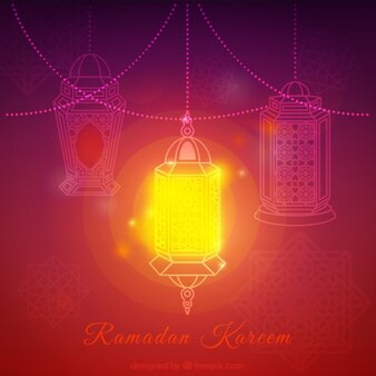 Bright lantern ramadan background