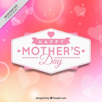 Bright mother's day background with hearts