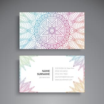 ビジネスカードヴィンテージ装飾要素オーナメントの花の名刺のオリエンタルパターンのベクトル図