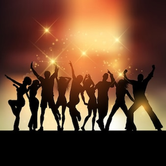 Bright orange background with silhouettes of people partying