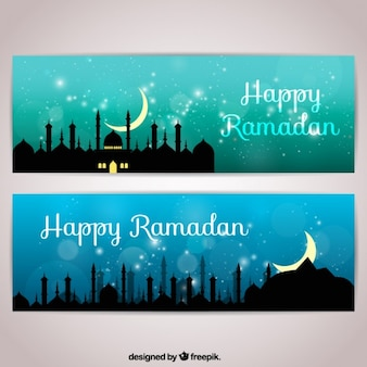 Bright ramadan banners with city silhouette