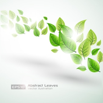Bright template background with green leaves