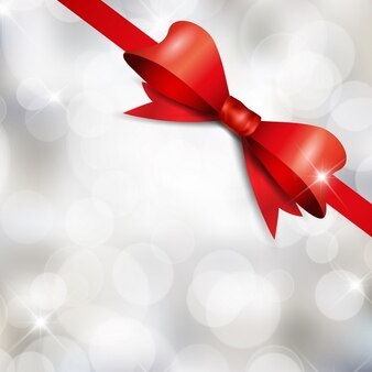 Bright white background with a red bow