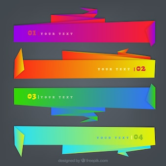 Brightly colored banners, paper effect