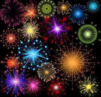 Brightly colorful vector fireworks