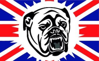 British bulldog with flag