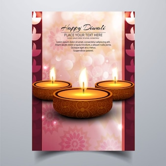 Brochure for diwali with lights and bubbles