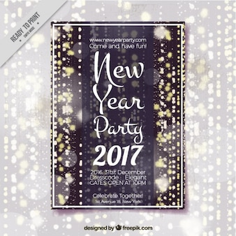 Brochure of 2017 new year's party with lights and bokeh effect