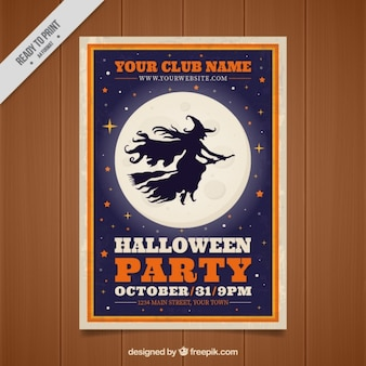 Brochure of halloween party witch silhouette