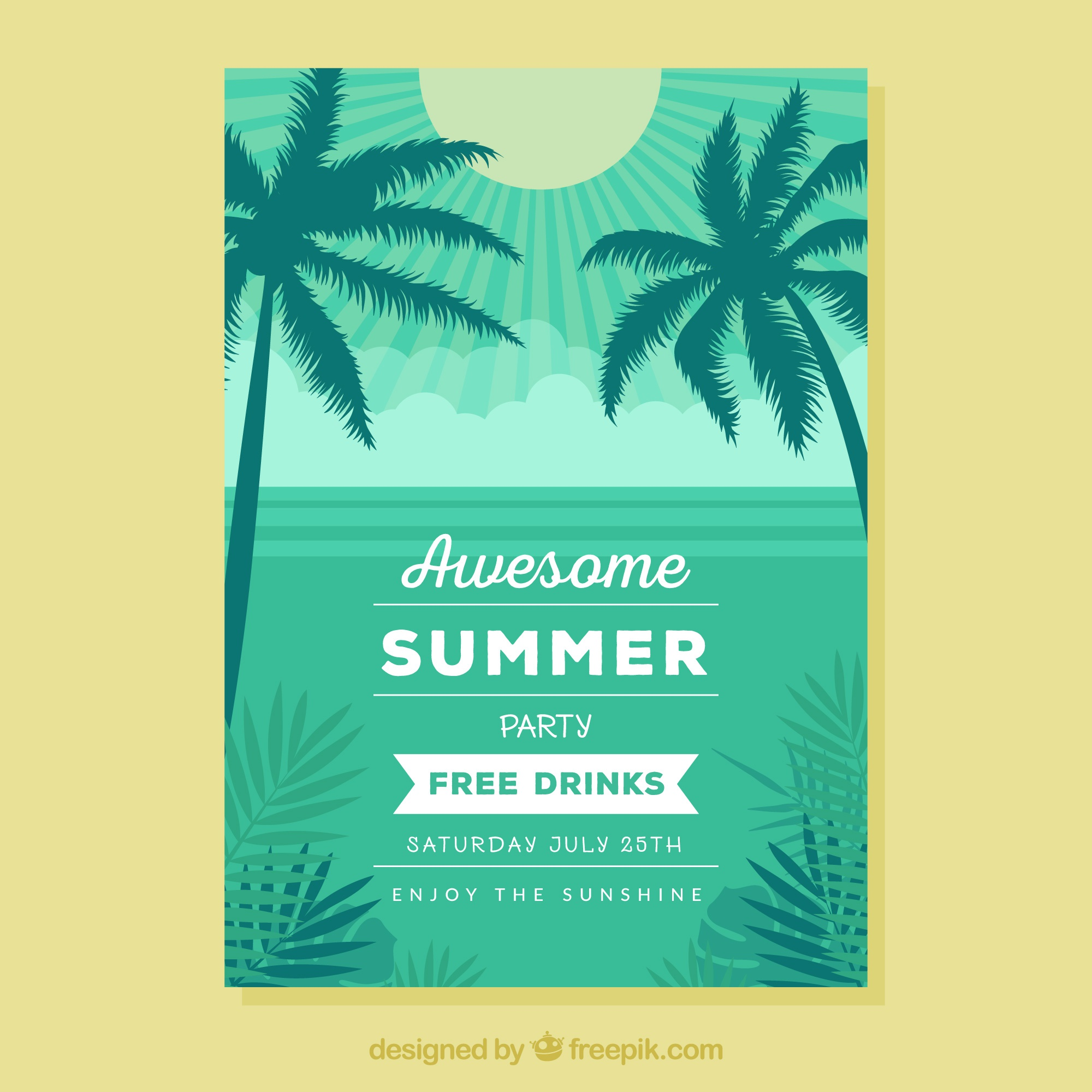 Brochure of party summer with palm trees