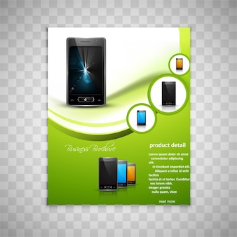 Brochure page design with smartphone